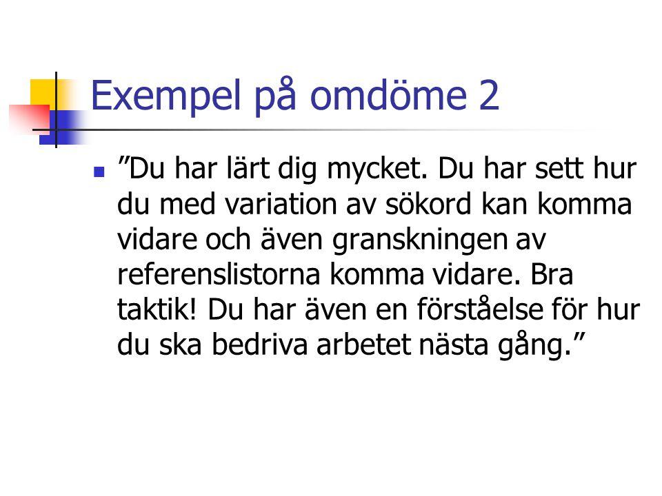 Exempel på omdöme 2 Du har lärt dig mycket.
