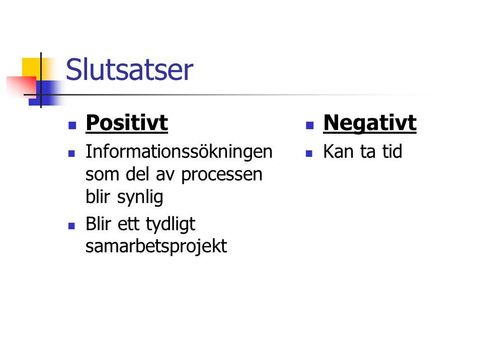 Slutsatser Positivt Informationssökningen som del av processen blir synlig Blir ett tydligt samarbetsprojekt Negativt Kan ta tid