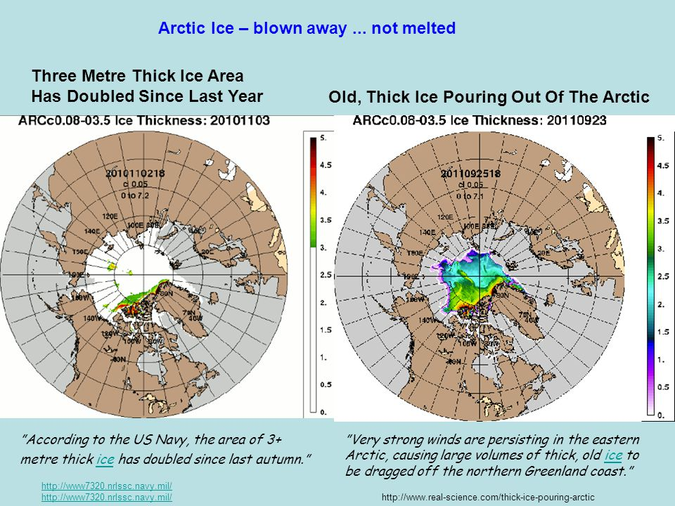 "http://www7320.nrlssc.navy.mil/ ""Very strong winds are persisting in the eastern Arctic, causing large volumes of thick, old ice to be dragged off the"