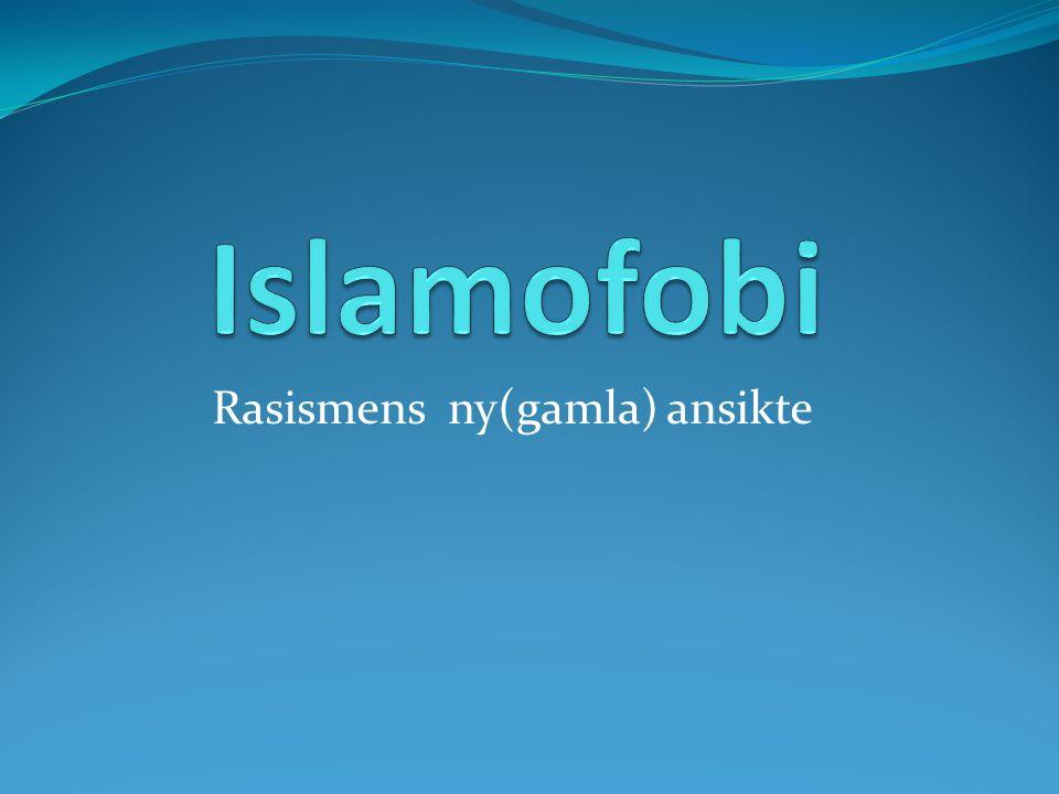 Vad är islamofobi? Rädsla (främmande) Okunskap Diskriminering Förföljelse Rasism (Kultur)