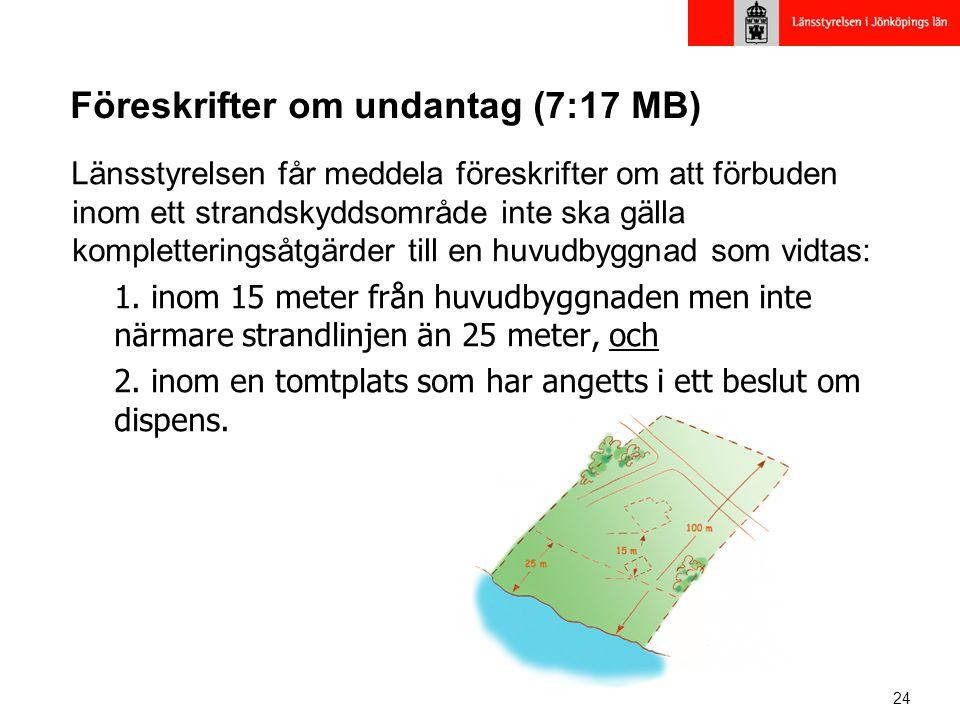 24 Föreskrifter om undantag (7:17 MB) Länsstyrelsen får meddela föreskrifter om att förbuden inom ett strandskyddsområde inte ska gälla kompletteringsåtgärder till en huvudbyggnad som vidtas: 1.