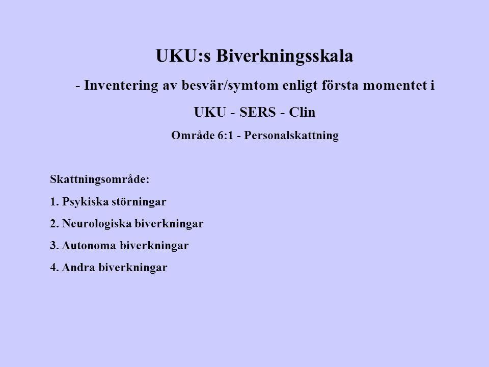 UKU:s Biverkningsskala - Inventering av besvär/symtom enligt första momentet i UKU - SERS - Clin Område 6:1 - Personalskattning Skattningsområde: 1. P