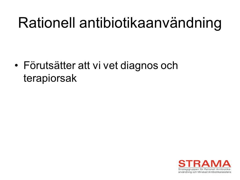 Rationell antibiotikaanvändning Förutsätter att vi vet diagnos och terapiorsak