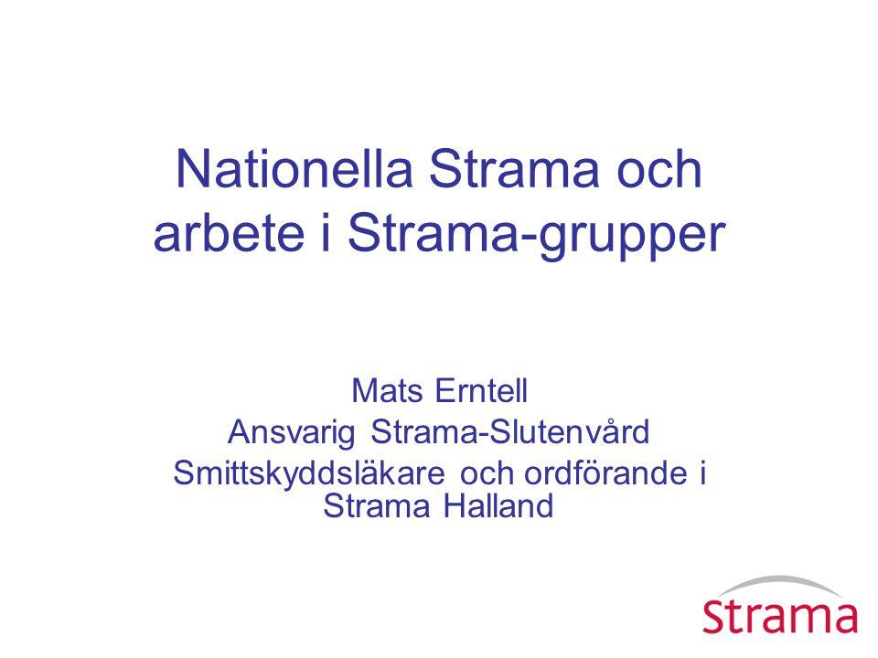 Nationella Strama och arbete i Strama-grupper Mats Erntell Ansvarig Strama-Slutenvård Smittskyddsläkare och ordförande i Strama Halland