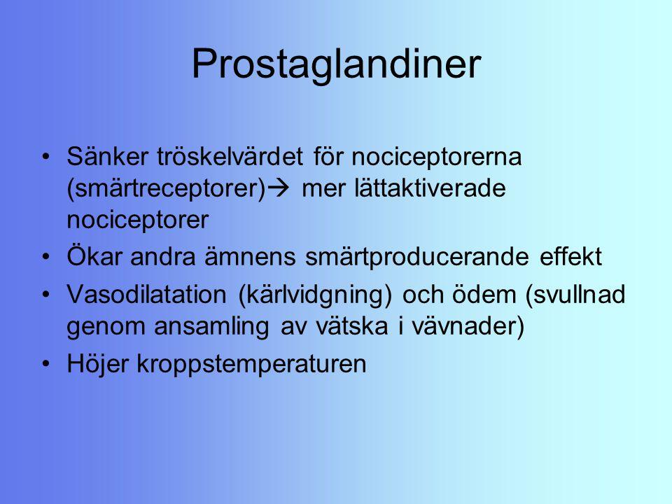 Prostaglandiner Sänker tröskelvärdet för nociceptorerna (smärtreceptorer)  mer lättaktiverade nociceptorer Ökar andra ämnens smärtproducerande effekt