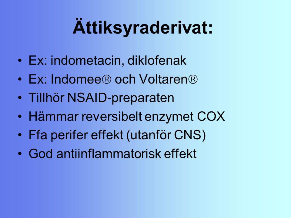 Ättiksyraderivat: Ex: indometacin, diklofenak Ex: Indomee  och Voltaren  Tillhör NSAID-preparaten Hämmar reversibelt enzymet COX Ffa perifer effekt