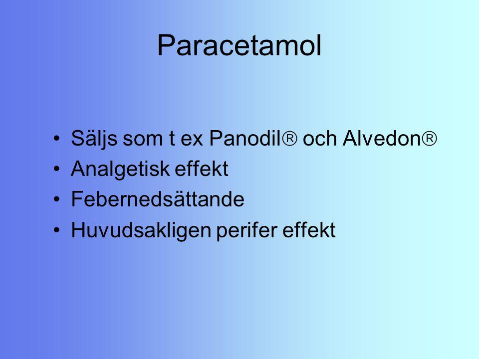 Paracetamol Säljs som t ex Panodil  och Alvedon  Analgetisk effekt Febernedsättande Huvudsakligen perifer effekt