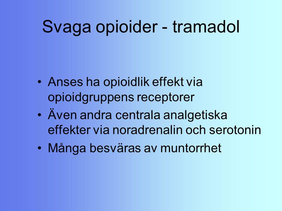 Svaga opioider - tramadol Anses ha opioidlik effekt via opioidgruppens receptorer Även andra centrala analgetiska effekter via noradrenalin och seroto