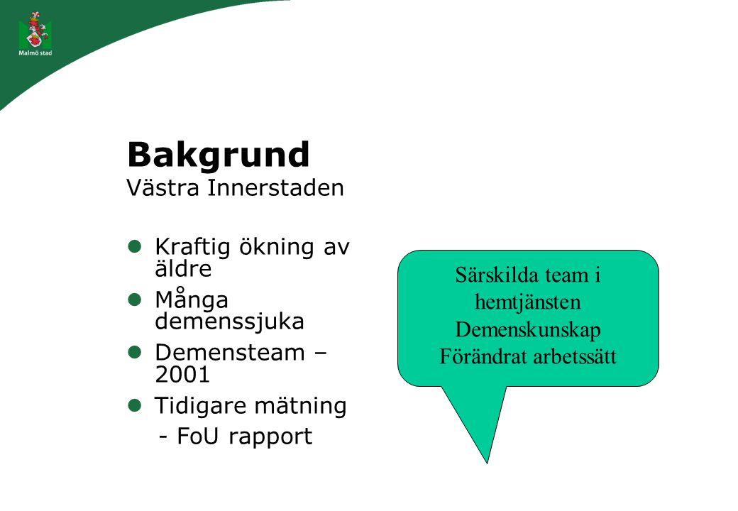 Bakgrund Västra Innerstaden Kraftig ökning av äldre Många demenssjuka Demensteam – 2001 Tidigare mätning - FoU rapport Särskilda team i hemtjänsten De