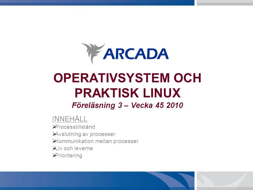 OPERATIVSYSTEM OCH PRAKTISK LINUX Föreläsning 3 – Vecka 45 2010 INNEHÅLL  Processtillstånd  Avslutning av processer  Kommunikation mellan processer