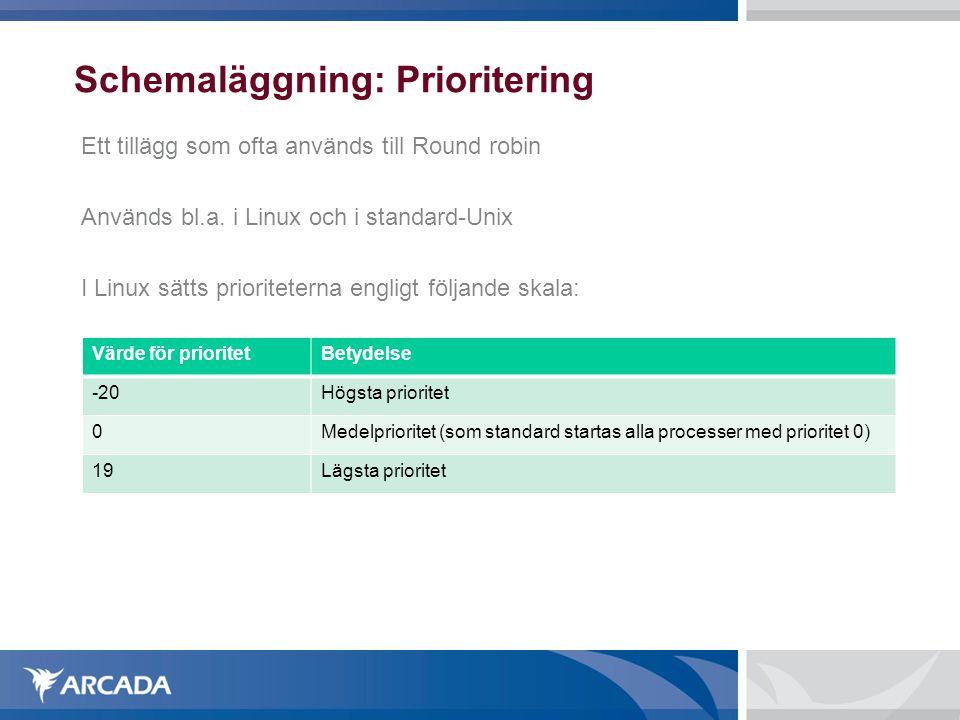 Schemaläggning: Prioritering Ett tillägg som ofta används till Round robin Används bl.a. i Linux och i standard-Unix I Linux sätts prioriteterna engli
