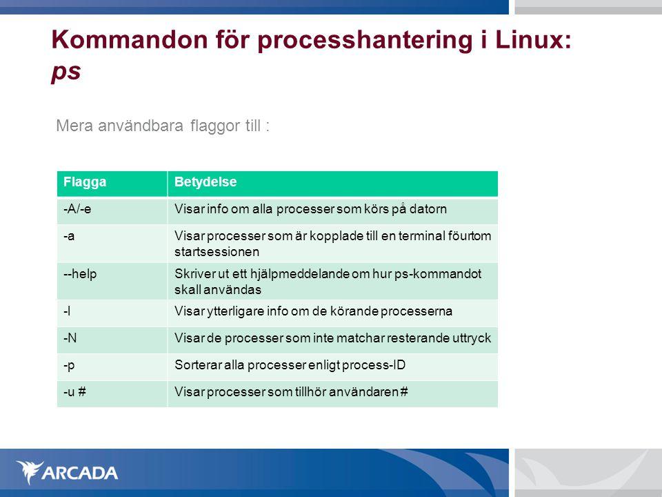 Kommandon för processhantering i Linux: ps Mera användbara flaggor till : FlaggaBetydelse -A/-eVisar info om alla processer som körs på datorn -aVisar
