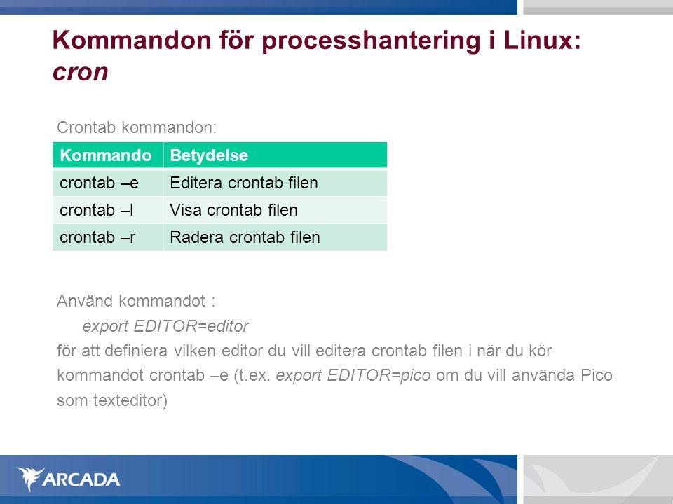 Kommandon för processhantering i Linux: cron Crontab kommandon: Använd kommandot : export EDITOR=editor för att definiera vilken editor du vill editer
