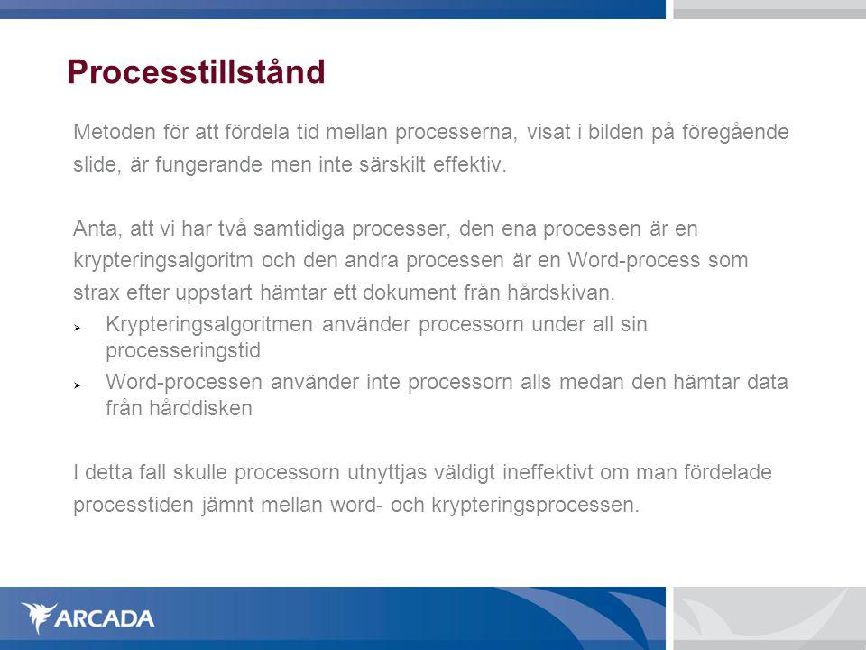 Processtillstånd Metoden för att fördela tid mellan processerna, visat i bilden på föregående slide, är fungerande men inte särskilt effektiv. Anta, a