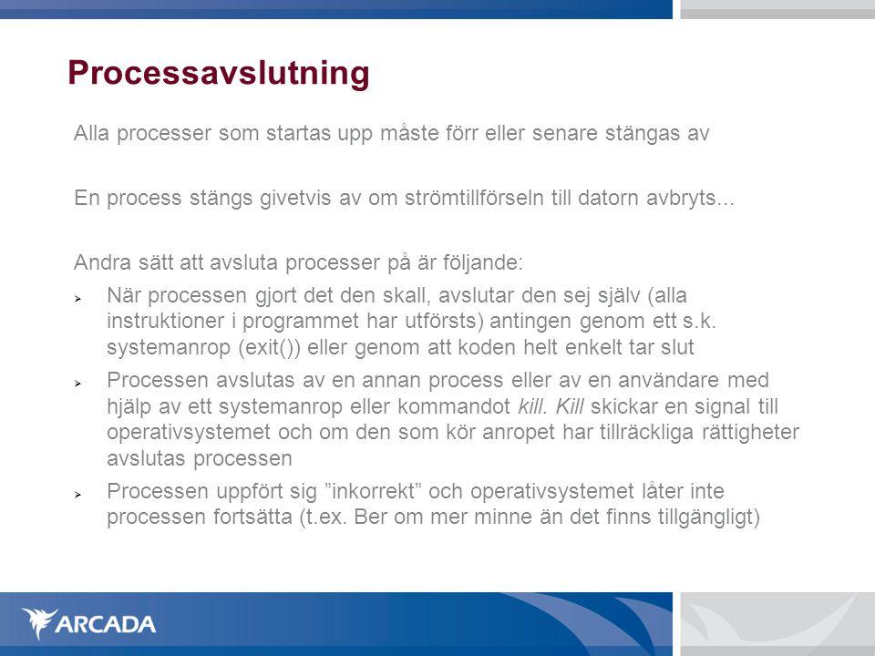 Processavslutning Alla processer som startas upp måste förr eller senare stängas av En process stängs givetvis av om strömtillförseln till datorn avbr