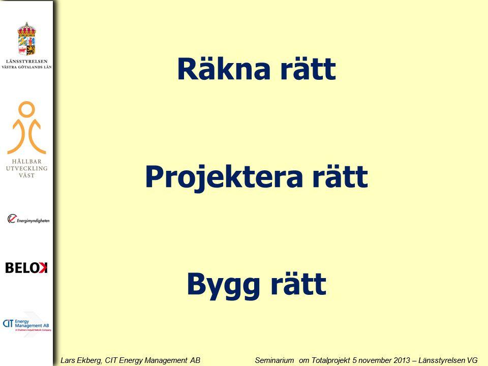 Lars Ekberg, CIT Energy Management AB Seminarium om Totalprojekt 5 november 2013 – Länsstyrelsen VG r =20% r =15% r =10%r =25% r =8% r =4% r =12% r =6% 0,9 0,8 0,7 0,6 0,5 0,4 0,3 0,2 0,1 0 0 1 2 3 4 5 6 7 8 9 10 Årlig besparing Mkr/år Investering Mkr Beräkning för 0% energiprisökning Beräkning för 0% energiprisökning Hur hårt slår gjorda antaganden?