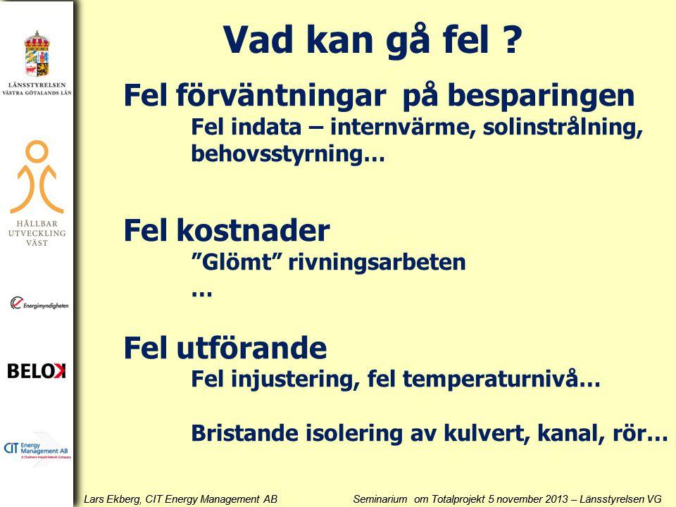 Lars Ekberg, CIT Energy Management AB Seminarium om Totalprojekt 5 november 2013 – Länsstyrelsen VG Fel förväntningar på besparingen Fel indata – internvärme, solinstrålning, behovsstyrning… Fel kostnader Glömt rivningsarbeten … Fel utförande Fel injustering, fel temperaturnivå… Bristande isolering av kulvert, kanal, rör… Vad kan gå fel ?