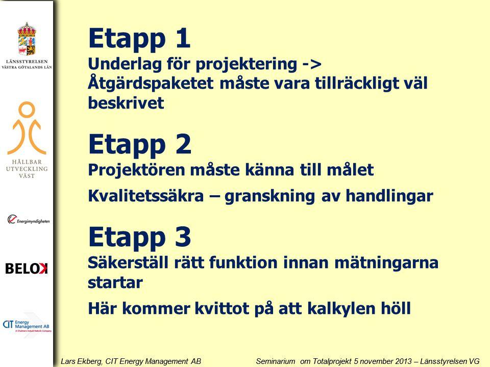 Lars Ekberg, CIT Energy Management AB Seminarium om Totalprojekt 5 november 2013 – Länsstyrelsen VG Etapp 1 Underlag för projektering -> Åtgärdspakete
