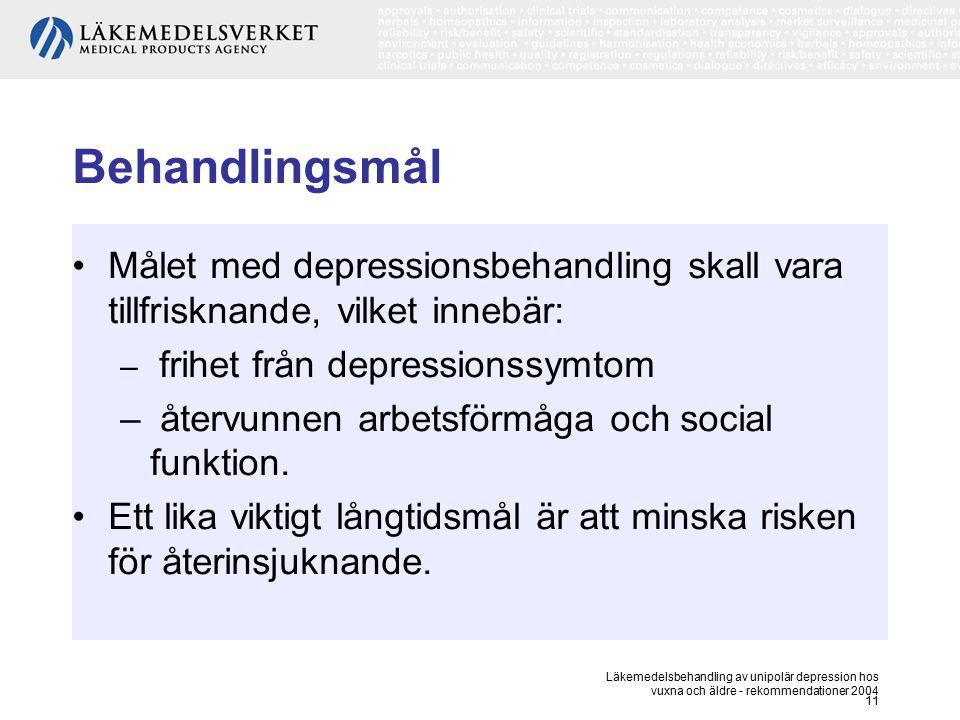 Läkemedelsbehandling av unipolär depression hos vuxna och äldre - rekommendationer 2004 11 Behandlingsmål Målet med depressionsbehandling skall vara t