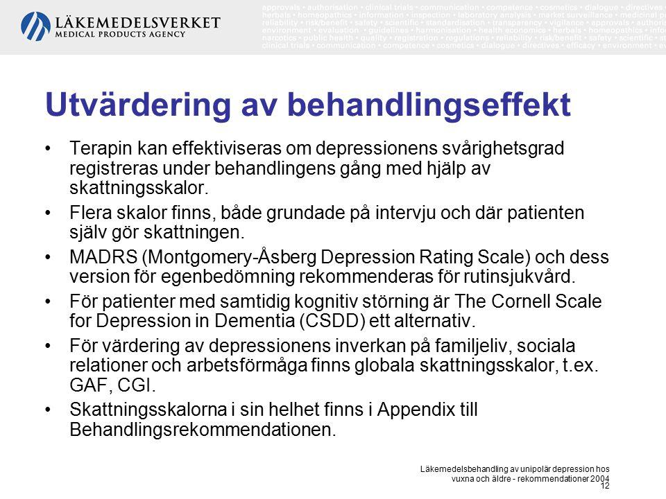Läkemedelsbehandling av unipolär depression hos vuxna och äldre - rekommendationer 2004 12 Utvärdering av behandlingseffekt Terapin kan effektiviseras