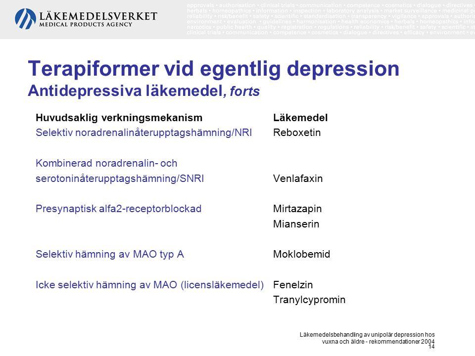 Läkemedelsbehandling av unipolär depression hos vuxna och äldre - rekommendationer 2004 14 Terapiformer vid egentlig depression Antidepressiva läkemed