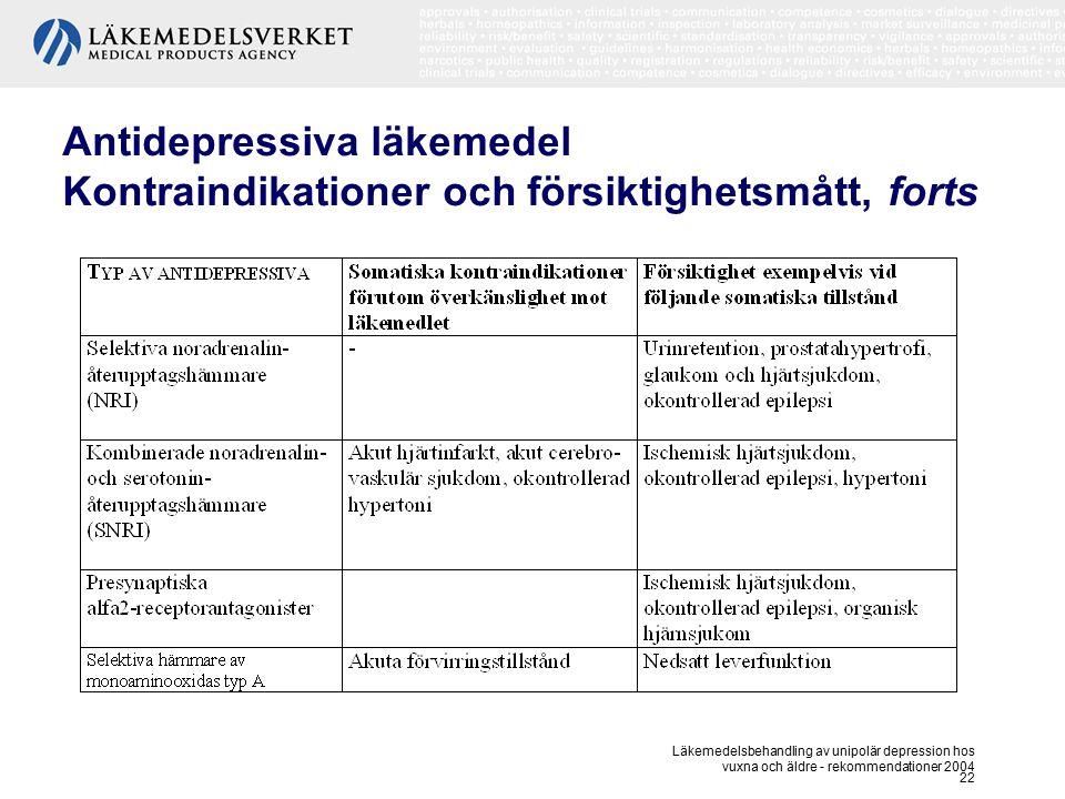 Läkemedelsbehandling av unipolär depression hos vuxna och äldre - rekommendationer 2004 22 Antidepressiva läkemedel Kontraindikationer och försiktighe