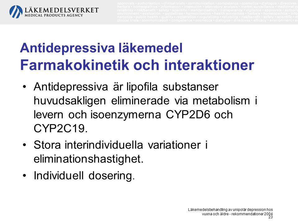 Läkemedelsbehandling av unipolär depression hos vuxna och äldre - rekommendationer 2004 23 Antidepressiva läkemedel Farmakokinetik och interaktioner A