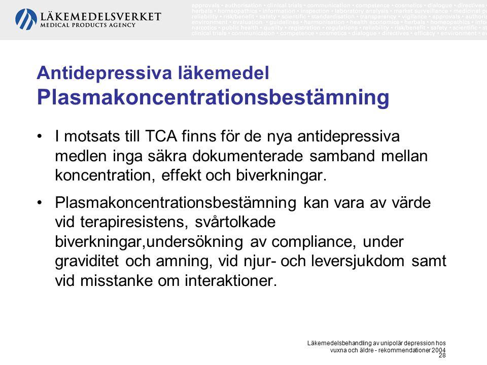 Läkemedelsbehandling av unipolär depression hos vuxna och äldre - rekommendationer 2004 28 Antidepressiva läkemedel Plasmakoncentrationsbestämning I m