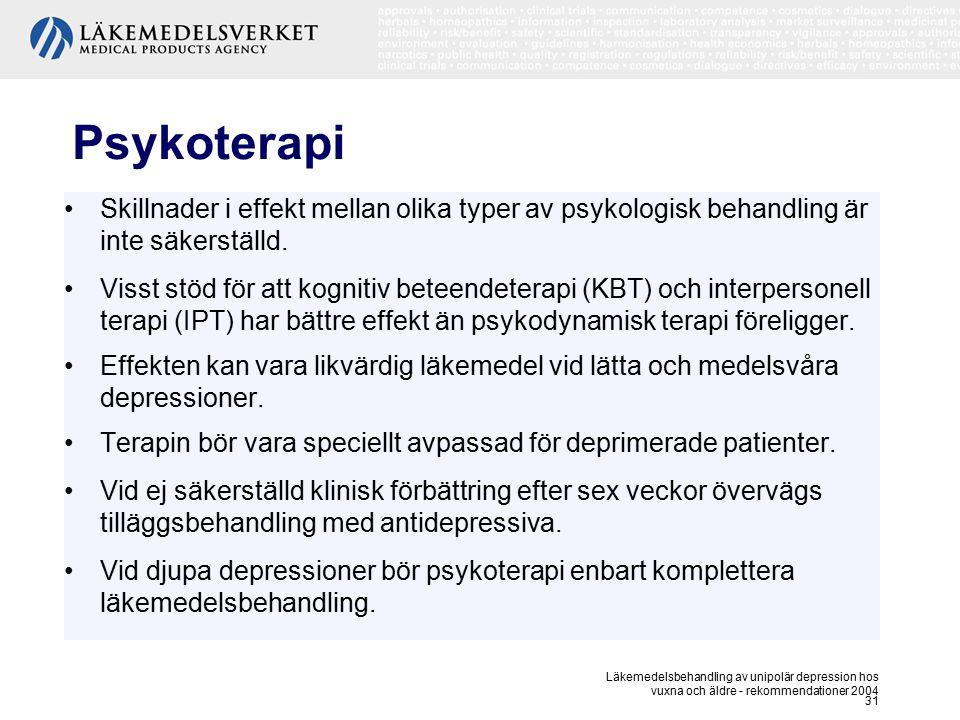 Läkemedelsbehandling av unipolär depression hos vuxna och äldre - rekommendationer 2004 31 Psykoterapi Skillnader i effekt mellan olika typer av psyko