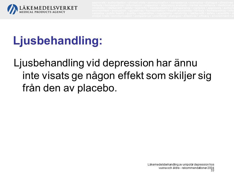 Läkemedelsbehandling av unipolär depression hos vuxna och äldre - rekommendationer 2004 33 Ljusbehandling: Ljusbehandling vid depression har ännu inte