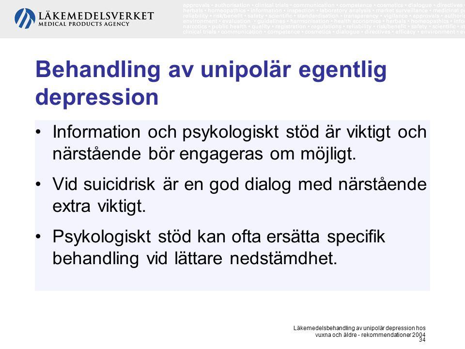 Läkemedelsbehandling av unipolär depression hos vuxna och äldre - rekommendationer 2004 34 Behandling av unipolär egentlig depression Information och