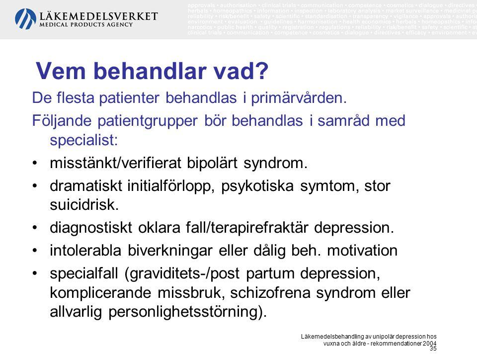 Läkemedelsbehandling av unipolär depression hos vuxna och äldre - rekommendationer 2004 35 Vem behandlar vad? De flesta patienter behandlas i primärvå