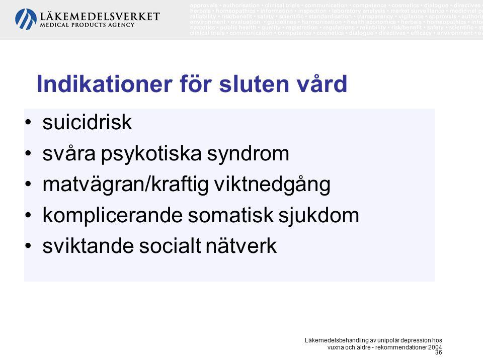 Läkemedelsbehandling av unipolär depression hos vuxna och äldre - rekommendationer 2004 36 Indikationer för sluten vård suicidrisk svåra psykotiska sy