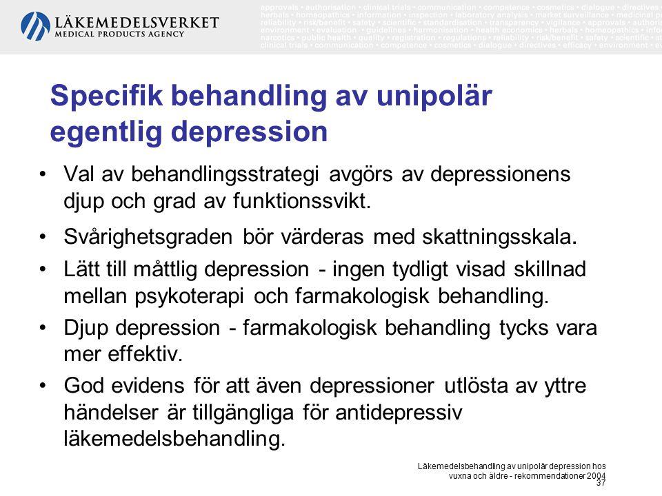 Läkemedelsbehandling av unipolär depression hos vuxna och äldre - rekommendationer 2004 37 Specifik behandling av unipolär egentlig depression Val av
