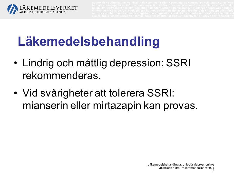 Läkemedelsbehandling av unipolär depression hos vuxna och äldre - rekommendationer 2004 38 Läkemedelsbehandling Lindrig och måttlig depression: SSRI r