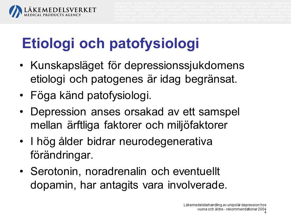 Läkemedelsbehandling av unipolär depression hos vuxna och äldre - rekommendationer 2004 4 Etiologi och patofysiologi Kunskapsläget för depressionssjuk