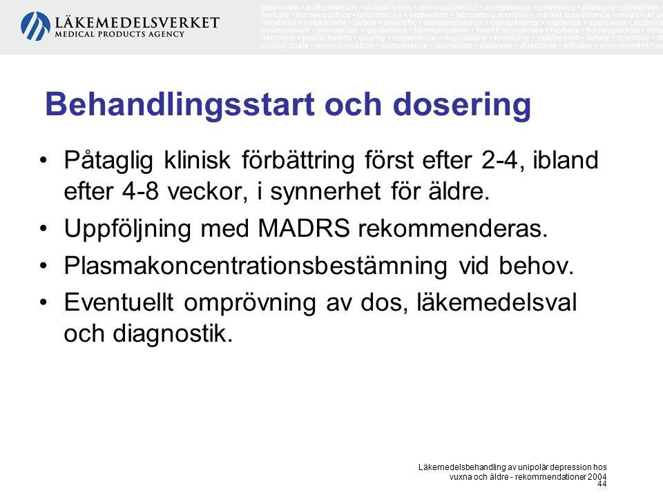 Läkemedelsbehandling av unipolär depression hos vuxna och äldre - rekommendationer 2004 44 Behandlingsstart och dosering Påtaglig klinisk förbättring