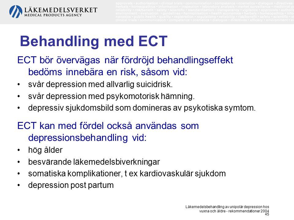 Läkemedelsbehandling av unipolär depression hos vuxna och äldre - rekommendationer 2004 45 Behandling med ECT ECT bör övervägas när fördröjd behandlin