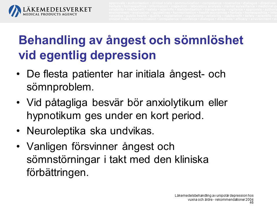 Läkemedelsbehandling av unipolär depression hos vuxna och äldre - rekommendationer 2004 46 Behandling av ångest och sömnlöshet vid egentlig depression