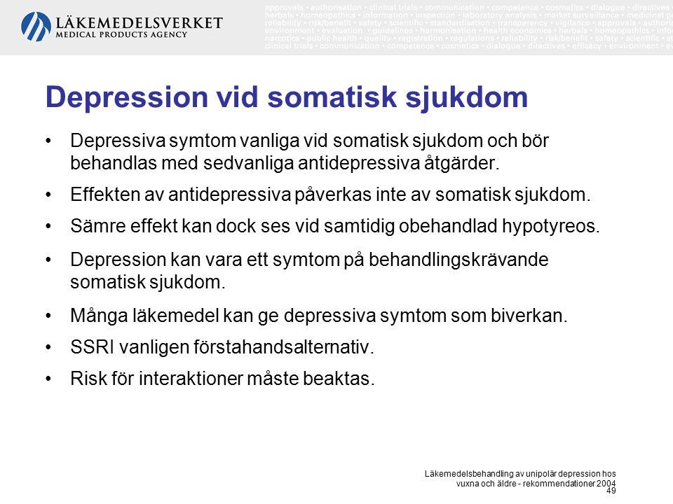 Läkemedelsbehandling av unipolär depression hos vuxna och äldre - rekommendationer 2004 49 Depression vid somatisk sjukdom Depressiva symtom vanliga v