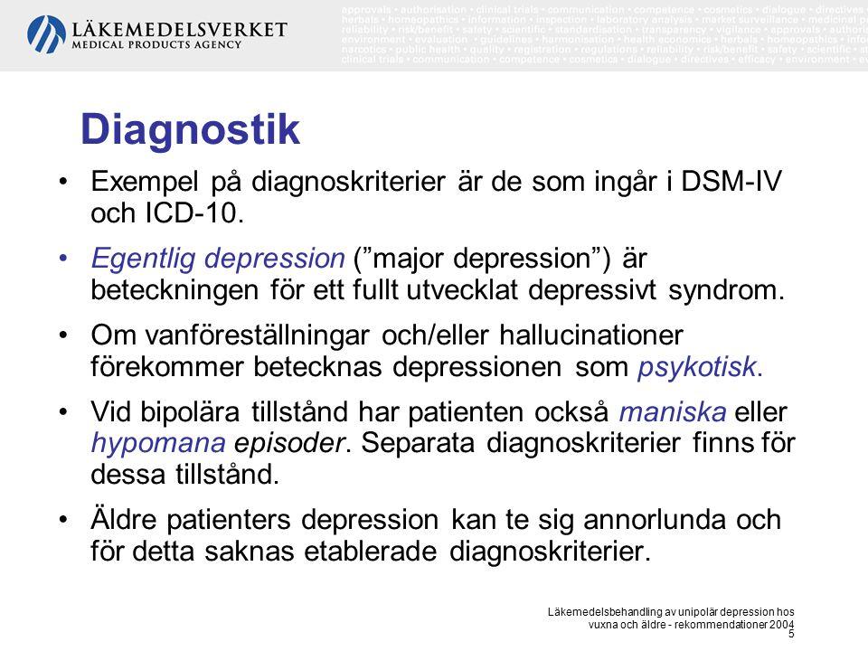 Läkemedelsbehandling av unipolär depression hos vuxna och äldre - rekommendationer 2004 5 Diagnostik Exempel på diagnoskriterier är de som ingår i DSM