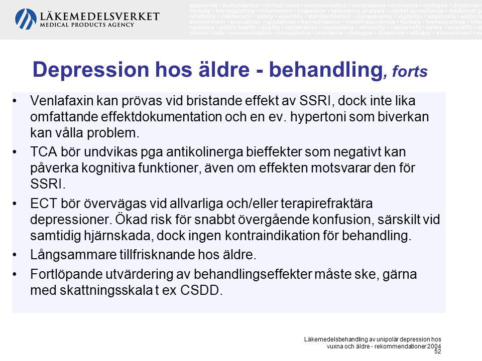 Läkemedelsbehandling av unipolär depression hos vuxna och äldre - rekommendationer 2004 52 Depression hos äldre - behandling, forts Venlafaxin kan prö