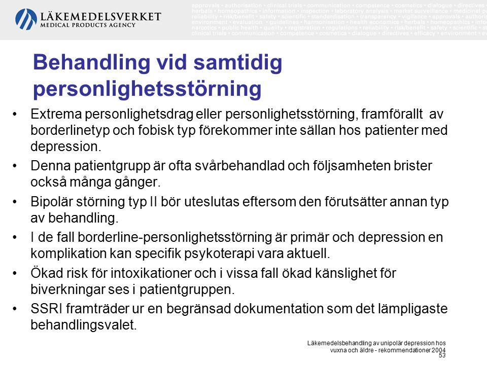 Läkemedelsbehandling av unipolär depression hos vuxna och äldre - rekommendationer 2004 53 Behandling vid samtidig personlighetsstörning Extrema perso