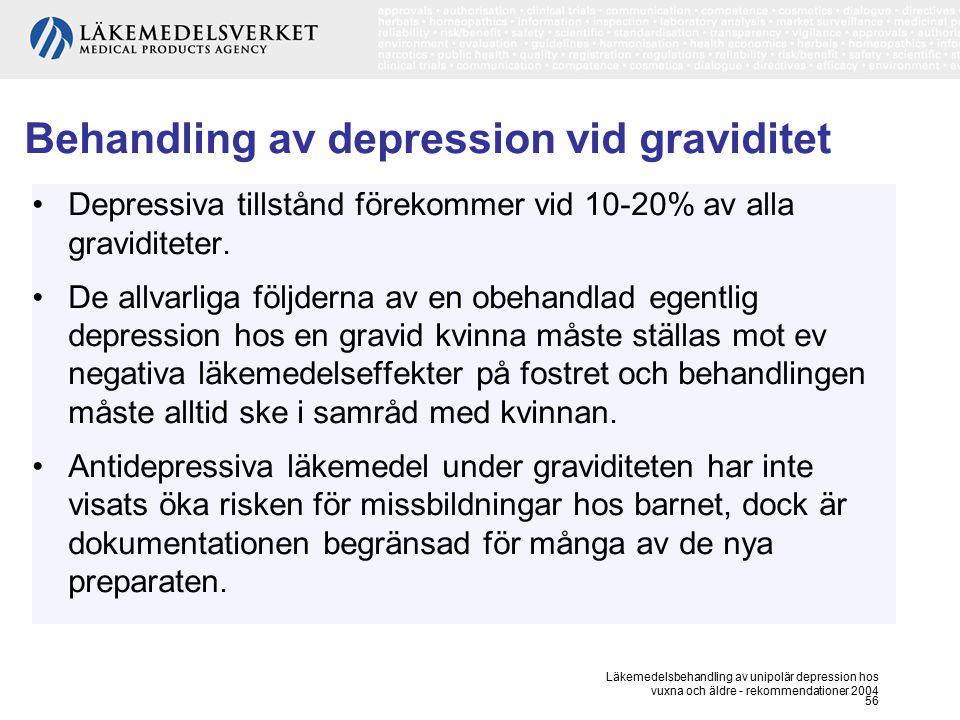 Läkemedelsbehandling av unipolär depression hos vuxna och äldre - rekommendationer 2004 56 Behandling av depression vid graviditet Depressiva tillstån