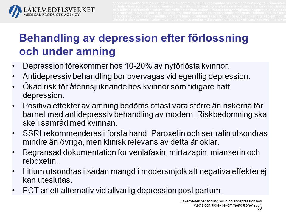 Läkemedelsbehandling av unipolär depression hos vuxna och äldre - rekommendationer 2004 58 Behandling av depression efter förlossning och under amning