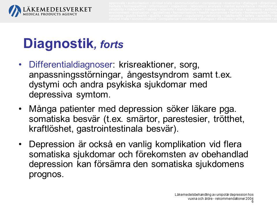 Läkemedelsbehandling av unipolär depression hos vuxna och äldre - rekommendationer 2004 6 Diagnostik, forts Differentialdiagnoser: krisreaktioner, sor