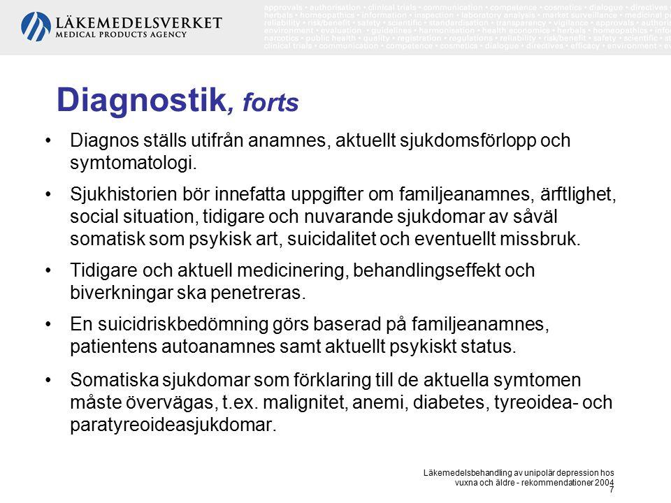 Läkemedelsbehandling av unipolär depression hos vuxna och äldre - rekommendationer 2004 7 Diagnostik, forts Diagnos ställs utifrån anamnes, aktuellt s
