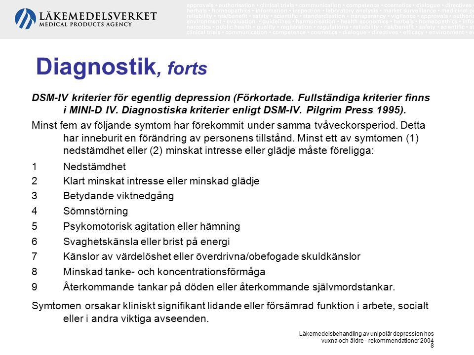 Läkemedelsbehandling av unipolär depression hos vuxna och äldre - rekommendationer 2004 8 Diagnostik, forts DSM-IV kriterier för egentlig depression (
