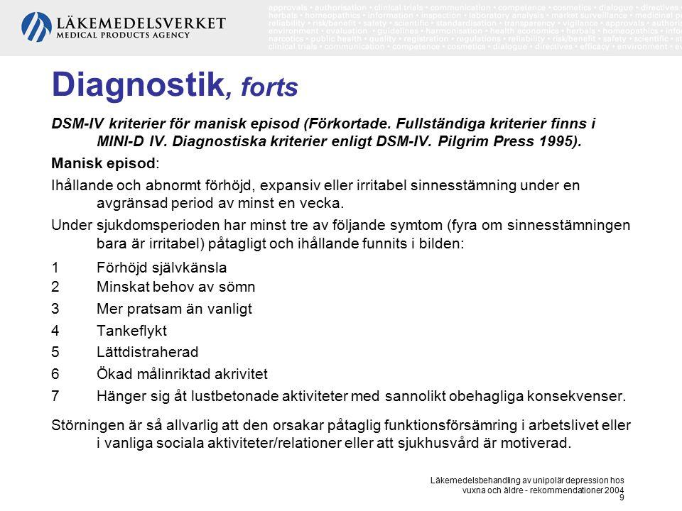 Läkemedelsbehandling av unipolär depression hos vuxna och äldre - rekommendationer 2004 9 Diagnostik, forts DSM-IV kriterier för manisk episod (Förkor