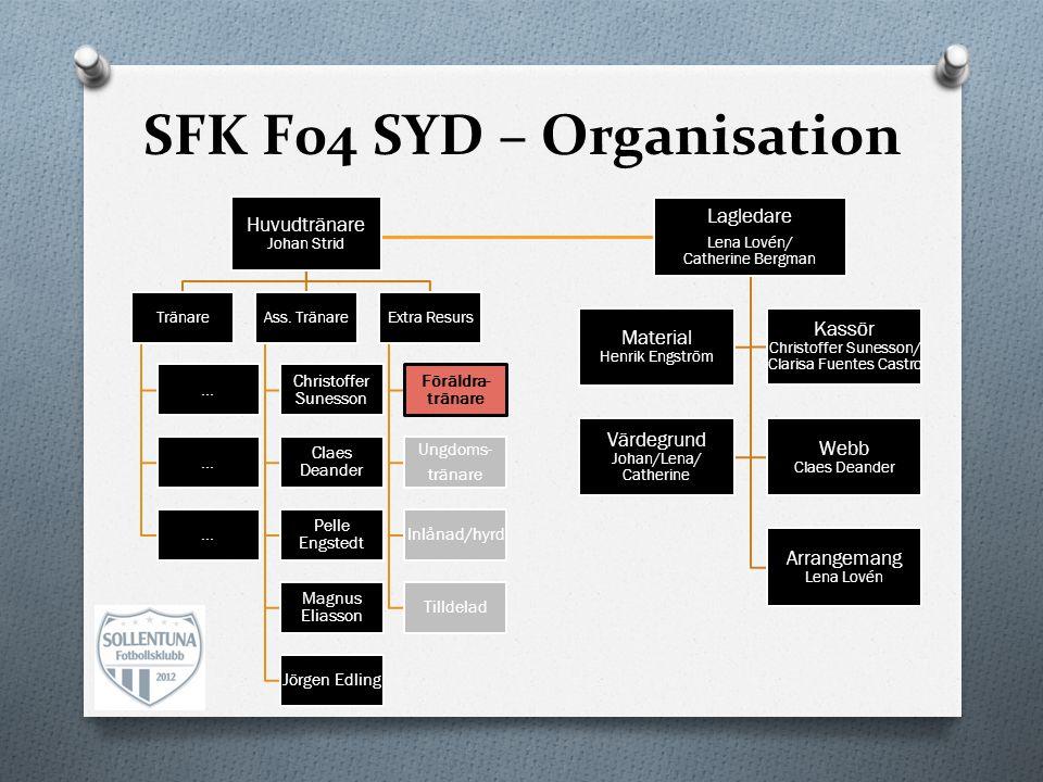 SFK F04 SYD – Organisation Huvudtränare Johan Strid Tränare …...